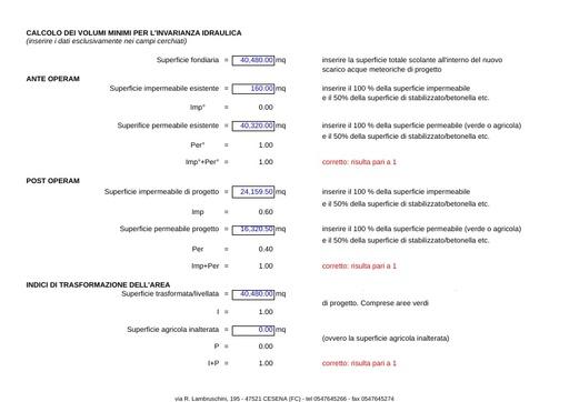 """Calcolo Invarianza Idraulica """"Foglio XLS"""" 2016/4"""